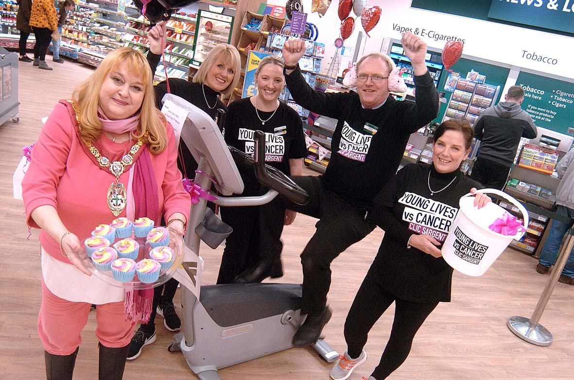 Mayor cheers Redditch Morrisons as they pedal to bumper charity sum