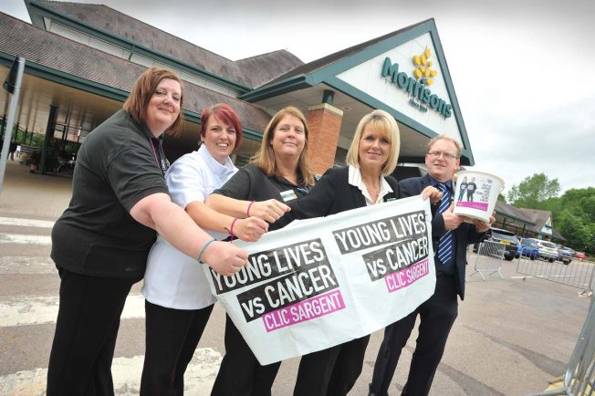 Staff at Redditch Morrisons get ready for a weekend of fundraising