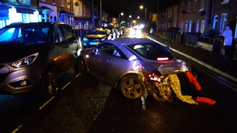 Suspected drug driver crashes into wall after police chase